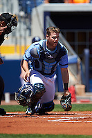 Charlotte Stone Crabs catcher Mac James (8) during a game against the Palm Beach Cardinals on April 10, 2016 at Charlotte Sports Park in Port Charlotte, Florida.  Palm Beach defeated Charlotte 4-1.  (Mike Janes/Four Seam Images)