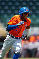 St. Lucie Mets Hansel Moreno (12) runs to first base during a Florida State League game against the Bradenton Marauders on July 28, 2019 at LECOM Park in Bradenton, Florida.  Bradenton defeated St. Lucie 7-3.  (Mike Janes/Four Seam Images)