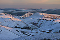 14/01/16<br /> <br /> Chrome Hill is bathed in the last light of the day as temperatures begin to plummet under clear skies below Axe Edge in the Derbyshire Peak District near Buxton.<br /> <br /> All Rights Reserved: F Stop Press Ltd. +44(0)1335 418365   +44 (0)7765 242650 www.fstoppress.com