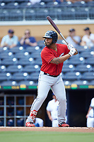 Bobby Bradley (44) of the Columbus Clippers at bat against the Durham Bulls at Durham Bulls Athletic Park on June 1, 2019 in Durham, North Carolina. The Bulls defeated the Clippers 11-5 in game one of a doubleheader. (Brian Westerholt/Four Seam Images)