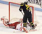 Sean Maguire (BU - 31), Mathieu Tibbet (Merrimack - 22) - The Boston University Terriers defeated the visiting Merrimack College Warriors 4-0 (EN) on Friday, January 29, 2016, at Agganis Arena in Boston, Massachusetts.