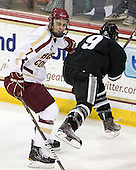 Isaac MacLeod (BC - 7), Damian Cross (PC - 9) - The Boston College Eagles defeated the visiting Providence College Friars 4-1 (EN) on Tuesday, December 6, 2011, at Kelley Rink in Conte Forum in Chestnut Hill, Massachusetts.