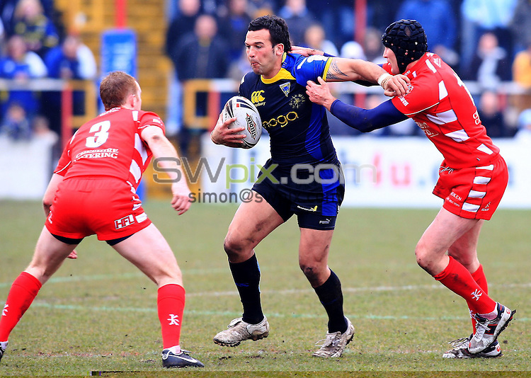 Pix: Chris Mangnall/SWpix.com, Rugby League, Carnegie Challenge Cup Round 4. 20/04/08. Leigh Centurions v Warrington Wolves....picture copyright>>Simon Wilkinson>>07811267 706>>....Leigh's Adam Rudd and Mike Wainwright tackles Warrington's Louis Anderson