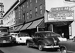 A message on the marquee of the Salem Theater in Naugatuck expressed the Management's confidence in the borough and gratitude to God. The theater was flooded in the August 19th disaster. 08 September 1955.