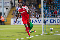 Devante Cole of Fleetwood Town celebrates scoring his side's first goal during the Sky Bet League 1 match between Bristol Rovers and Fleetwood Town at the Memorial Stadium, Bristol, England on 26 August 2017. Photo by Mark  Hawkins.