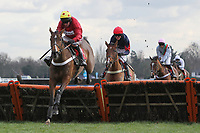 Race winner Ericht (L) ridden by Barry Geraghty in jumping action in the TurfTV Novices Hurdle - Horse Racing at Kempton Park Racecourse