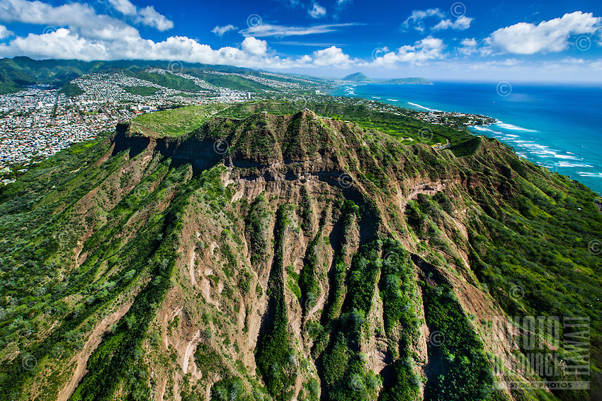 An aerial view of Diamond Head (or Le'ahi), Honolulu, O'ahu.
