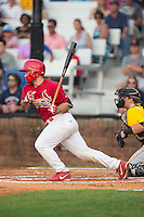 Chris Chinea (22) of the Johnson City Cardinals follows through on his swing against the Bristol Pirates at Howard Johnson Field at Cardinal Park on July 6, 2015 in Johnson City, Tennessee.  The Cardinals defeated the Pirates 8-2 in game two of a double-header. (Brian Westerholt/Four Seam Images)