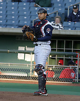 May 5, 2004:  /c/ Guillermo Quiroz (12) of the Syracuse Sky Chiefs, Class-AAA International League affiliate of the Toronto Blue Jays, during a game at P&C Park in Syracuse, NY.  Photo by:  Mike Janes/Four Seam Images
