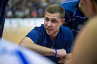 St Kentigern coach Aaron Young talks to his team before the 2019 Schick AA Boys' Secondary Schools Basketball National Championship final between St Kentigern and Rosmini College at the Central Energy Trust Arena in Palmerston North, New Zealand on Saturday, 5 October 2019. Photo: Dave Lintott / lintottphoto.co.nz
