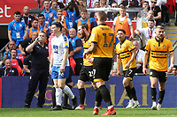 Newport's Mark O'Brien is shown a red card by referee, Ross Joyce during Newport County vs Tranmere Rovers, Sky Bet EFL League 2 Play-Off Final Football at Wembley Stadium on 25th May 2019