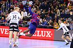 VELUX EHF 2019/20 EHF Men's Champions League Group Phase - Round 8.<br /> FC Barcelona vs Aalborg Handbold: 44-35.<br /> Magnus Jensen vs Cedric Sorhaindo.