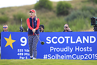 Jessica Korda of Team USA on the 9th tee during Day 1 Fourball at the Solheim Cup 2019, Gleneagles Golf CLub, Auchterarder, Perthshire, Scotland. 13/09/2019.<br /> Picture Thos Caffrey / Golffile.ie<br /> <br /> All photo usage must carry mandatory copyright credit (© Golffile | Thos Caffrey)
