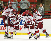 Dan Ford (Harvard - 5), Conor Morrison (Harvard - 38), Colin Blackwell (Harvard - 63), Danny Biega (Harvard - 9) - The Harvard University Crimson defeated the visiting Brown University Bears 3-2 on Friday, November 2, 2012, at the Bright Hockey Center in Boston, Massachusetts.