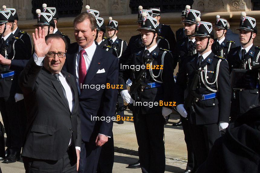 François Hollande, président de la République française en Visite officielle au Grand-Duché de Luxembourg rencontre leurs Altesses Royales le Grand-Duc Henri et la Grande-Duchesse Maria Teresa de Luxembourg.<br /> Luxembourg, 6 mars 2015.<br /> French president Fran&ccedil;ois Hollande during an  official state visit to Luxembourg, accompanied by HRH Grand Duke Henri and HRH Grand Duchess Maria Teresa.<br /> Luxembourg, 6 March 2015.