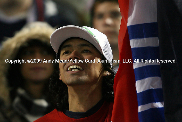 14 October 2009: A Costa Rica fan reacts to a goal. The United States Men's National Team played the Costa Rica Men's National Team at RFK Stadium in Washington, DC in the Hexagonal, the final CONCACAF round, a FIFA 2010 South Africa World Cup Qualifier.