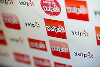 The Yelp logo, the online crowdsourcing review site, is seen on Friday, March 2, 2012 as the result of a web search in New York on the day of Yelp's initial public offering. The eight year old, still unprofitable company priced its IPO at $15 per share. Beside restaurants, Yelp carries reviews by viewers of a multitude of businesses and services. (© Richard B. Levine)