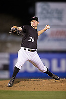 Kannapolis Intimidators relief pitcher Alex Katz (20) in action against the Lakewood BlueClaws at Kannapolis Intimidators Stadium on April 6, 2017 in Kannapolis, North Carolina.  The BlueClaws defeated the Intimidators 7-5.  (Brian Westerholt/Four Seam Images)