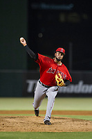 AZL Angels relief pitcher Kida De La Cruz (35) delivers a pitch during a game against the AZL Indians on August 7, 2017 at Tempe Diablo Stadium in Tempe, Arizona. AZL Indians defeated the AZL Angels 5-3. (Zachary Lucy/Four Seam Images)