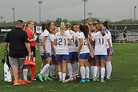 Piscataway, NJ, May 13, 2016. The Boston Breakers huddle before their match with Sky Blue FC. Sky Blue FC defeated the Boston Breakers, 1-0, in a National Women's Soccer League (NWSL) match at Yurcak Field.