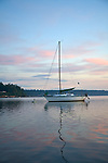 Carr Inlet, Puget Sound, WA<br /> High clouds over sail boat moored in Mayo Cove, Penrose Point State Park
