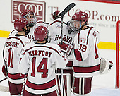 The Crimson celebrate their win. - The Harvard University Crimson defeated the Dartmouth College Big Green 5-2 to sweep their weekend series on Sunday, November 1, 2015, at Bright-Landry Hockey Center in Boston, Massachusetts. -