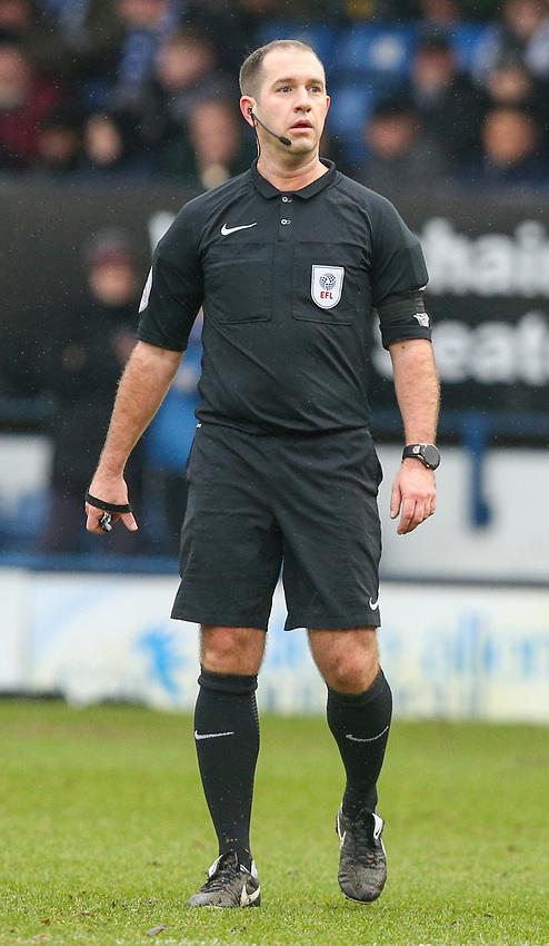Referee Jeremy Simpson<br /> <br /> Photographer Alex Dodd/CameraSport<br /> <br /> The EFL Sky Bet League One - Bury v Blackpool - Saturday 3rd February 2018 - Gigg Lane - Bury<br /> <br /> World Copyright &copy; 2018 CameraSport. All rights reserved. 43 Linden Ave. Countesthorpe. Leicester. England. LE8 5PG - Tel: +44 (0) 116 277 4147 - admin@camerasport.com - www.camerasport.com