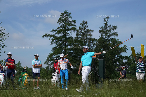 (L-R) Jon Rahm (ESP),  Daisuke Shindo, Rickie Fowler (USA), Hideki Matsuyama (JPN),<br /> JUNE 15, 2017 - Golf :<br /> Hideki Matsuyama of Japan during the first round of the U.S. Open  Championship at Erin Hills golf course in Erin, Wisconsin, United States. (Photo by Koji Aoki/AFLO)