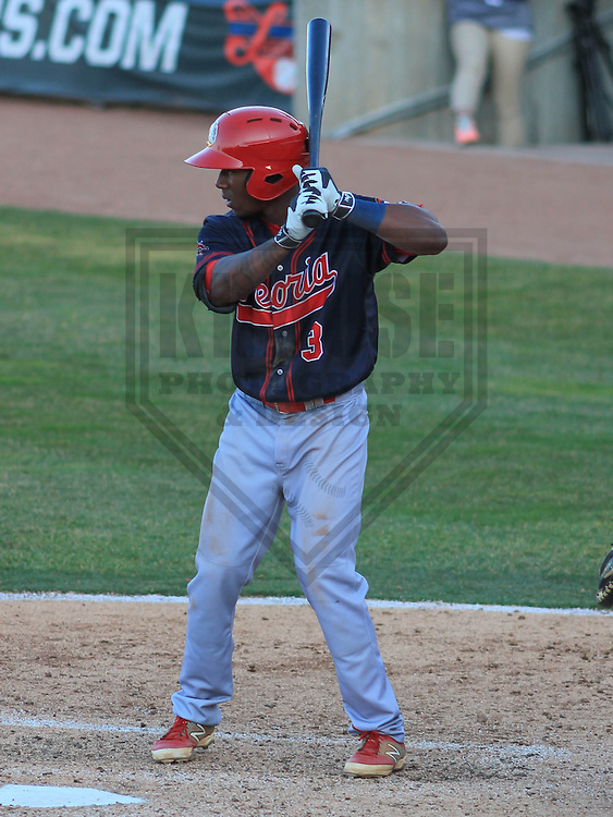 APPLETON - April 2015: second baseman Darren Seferina (3) of the Peoria Chiefs during a game against the Wisconsin Timber Rattlers on April 12th, 2015 at Fox Cities Stadium in Appleton, Wisconsin. (Photo Credit: Brad Krause)