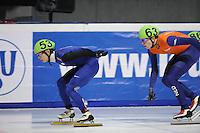 SCHAATSEN: DORDRECHT: Sportboulevard, Korean Air ISU World Cup Finale, 10-02-2012, Jung-Su Lee KOR (53), Freek van der Wart NED (63), ©foto: Martin de Jong