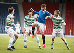 Sam Jamieson surrounded by Celtic players