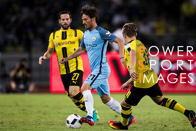 Manchester City midfielder David Silva (c) during the match against Borussia Dortmund at the 2016 International Champions Cup China match at the Shenzhen Stadium on 28 July 2016 in Shenzhen, China. Photo by Victor Fraile / Power Sport Images