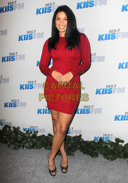 Jordin Sparks .KIIS FM 2012 Jingle Ball - Night 2 held at Nokia Theatre L.A. Live, Los Angeles, California, USA..3rd December 2012 .full length red dress   .CAP/ADM/KB.©Kevan Brooks/AdMedia/Capital Pictures.