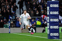 Danny Cipriani of England runs in a try moments after coming onto the pitch as a substitute during the RBS 6 Nations match between England and Italy at Twickenham Stadium on Saturday 14th February 2015 (Photo by Rob Munro)