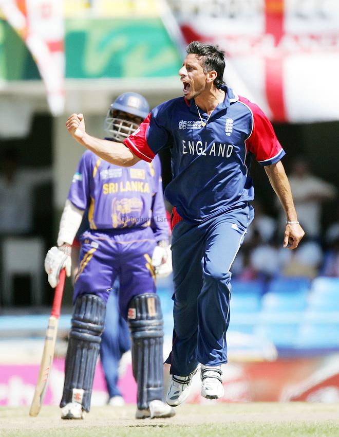 Photo: Photosport/Richard Lane Photography..England v Sri Lanka. ICC Cricket World Cup, Super 8 Series. 04/04/2007..England bowler Sajid Mahmood celebrates taking the wicket of Sanath Jayasuriya.