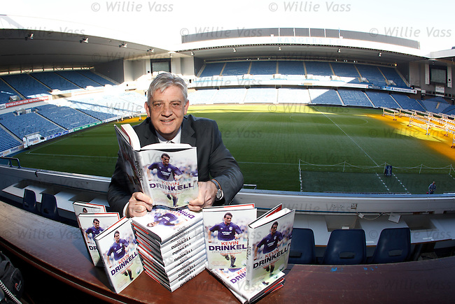 "Kevin Drinkell with his autobiography ""Drinks All Round"" at Ibrox Stadium"