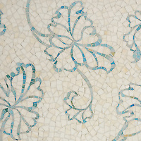 Folia, a handmade mosaic shown in Quartz and Aquamarine Sea Glass™, is part of the Sea Glass™ collection by Sara Baldwin for New Ravenna.