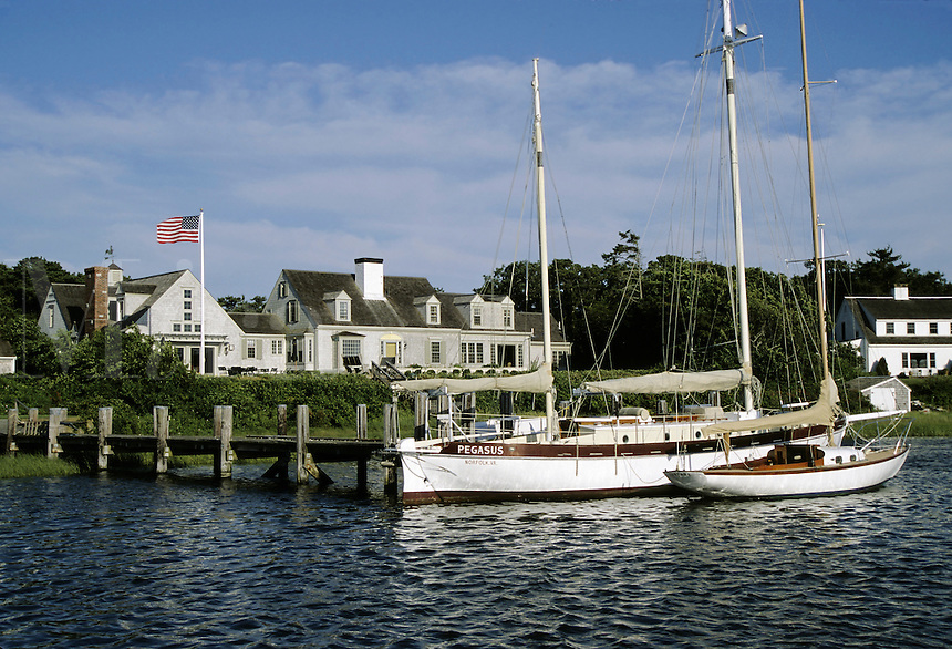 Cape Cod, Massachusetts.A private house and dock in the neat and tidy harbor of Harwichport on Cape Cod's south shore..  (not released)