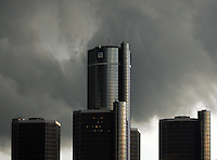 Windsor, Ontario - May 31, 2006 - Menacing clouds are taking Detroit skyline into the dark just before a thunderstorm Tuesday around 7 PM.