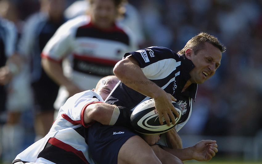 Photo: Jonathan Butler..Bristol Rugby v Saracens. Guinness Premiership. 10/09/2006..Jason Strange of Bristol is tackled.