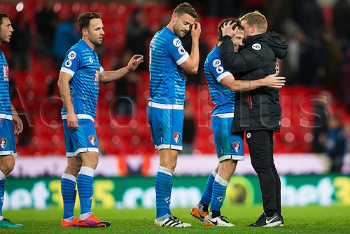 19.11.2016. Bet365 Stadium, Stoke, England. Premier League Football. Stoke City versus AFC Bournemouth. Bournemouth players queue up to be congratulated by manager Eddie Howe.