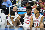 02 APR 2016: The University of Oklahoma team bench in the final moments of their loss to Villanova University during the 2016 NCAA Men's Division I Basketball Final Four Semifinal game held at NRG Stadium in Houston, TX. Villanova defeated Oklahoma 95-51 to advance to the championship game. Brett Wilhelm/NCAA Photos