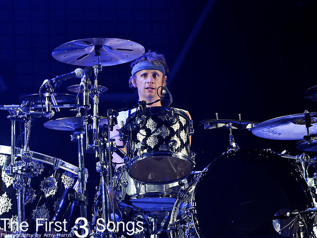 Dominic Howard of Muse performs during day 2 of the 2011 Kanrocksas Music Festival at Kansas Speedway in Kansas City, Kansas on August 6, 2011.