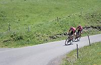 Tiesj Benoot (BEL/Lotto-Soudal) & Rafael Valls (ESP/Lotto-Soudal) descending the Col de la Colombière<br /> <br /> 69th Critérium du Dauphiné 2017<br /> Stage 8: Albertville > Plateau de Solaison (115km)