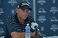 June 29, 2013  (Bethesda, Maryland)  Bill Haas speaks to the media after Round 3 of the AT&T National. Haas shares a four way tie for the lead going into the final round.  (Photo by Don Baxter/Media Images International)