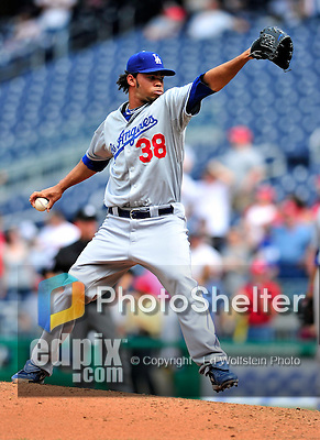 25 April 2010: Los Angeles Dodgers' pitcher Ramon Troncoso on the mound in relief against the Washington Nationals at Nationals Park in Washington, DC. The Nationals shut out the Dodgers 1-0 to take the rubber match of their 3-game series. Mandatory Credit: Ed Wolfstein Photo