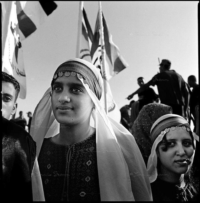 Neve Dekalim, Gaza strip, Sept 14 2005.Chaath, 14, in traditional dress is part of a dance group. Thousands of Palestinians gather in the former Jewish settlement for a joint meeting by most Palestinian resistance movements such as Hamas, Islamic Jihad, FPLP and many more.