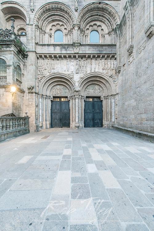 Spain, Satiago de Compostela, Cathedral Side Entrance