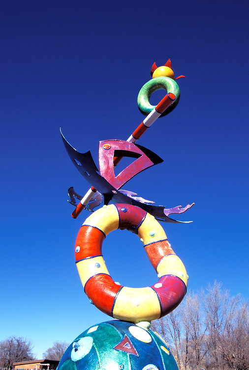 "New Mexico, Santa Fe. Sculpture at Shidoni by S. Kline titled ""Letter from Home."" Photo nmalbu103..Photo copyright Lee Foster, www.fostertravel.com, 510/549-2202, lee@fostertravel.com"