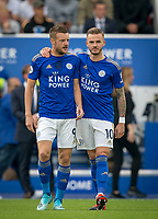 Jamie Vardy & James Maddison of Leicester City during the Premier League match between Leicester City and Wolverhampton Wanderers at the King Power Stadium, Leicester, England on 10 August 2019. Photo by Andy Rowland.
